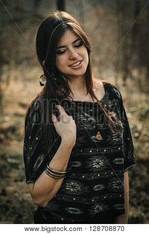 Stylish Beautiful  Brunette Girl In Ethnic Clothes In The Amazing Woods