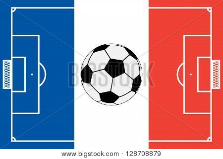 Template realistic soccer field with lines and gate on the background of the official national flag of France and soccer ball. vector illustration