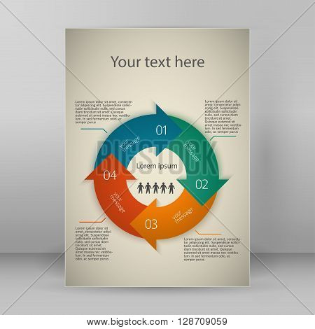 Modern Design infographic style template on vintage background with numbered 3d effect blue arrows circle. Vector illustration EPS 10 for new product newsletters web banners pages presentation