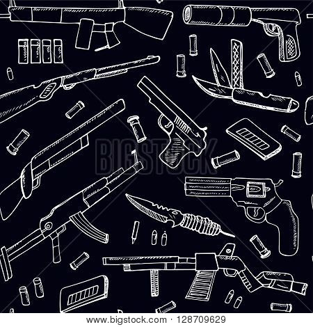 Hand drawn seamless pattern with Weapons.  Isolated vector illustration for identity, design, decoration, packages product and interior decoration