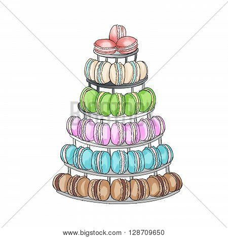 Macaroons cake stand- raster hand drawn illustration
