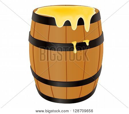 Wooden barrel with honey, vector illustration isolated on white