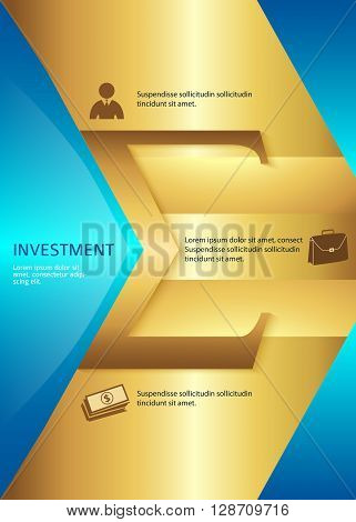 Business corporate template vector illustration EPS 10. Abstract background for chart process service your company for stages new business: investment implementation manufacturing financial risk