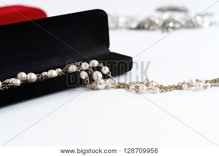 Luxury Pearl Necklace In Gift Box On White Background, Present And Love Concept, Valentine's Day .