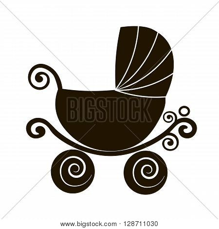 silhouette cute stroller vintage baby carriage online store logo Flat vector icon.