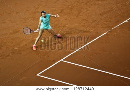 CLUJ-NAPOCA, ROMANIA - APRIL 17, 2016: Tennis player Monica Niculescu plays against Andrea Petkovic during a Fed Cup Play-Offs Tennis match, Romania vs Germany