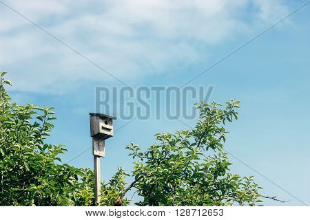 Rustic Wooden Birdhouse Hight In The Sky, Summer Home, Space For Text