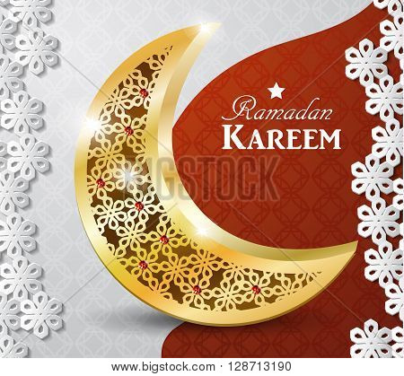 Ramadan greetings gold moon on a dark background with paper ornament