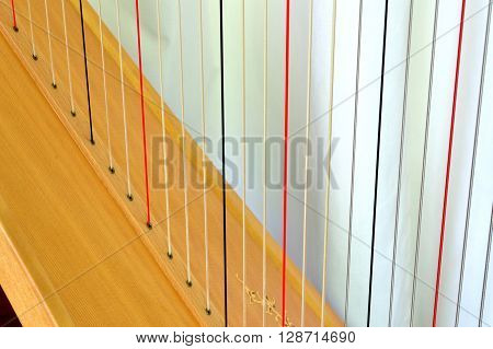 Pedal Harp Strings, Closeup