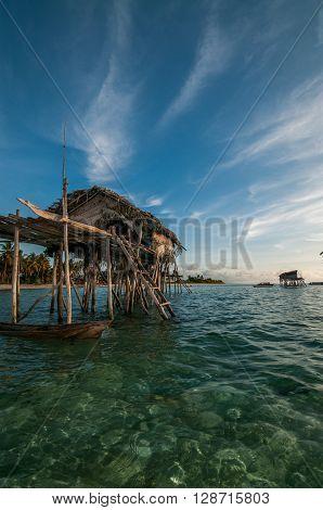 A shot of a house on stilts talen at Maiga Island Sabah Malaysia.