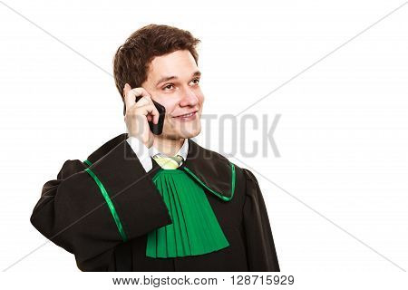 Smiling Lawyer Make A Phone Call.