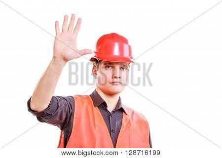 Man Worker Showing Five Fingers.