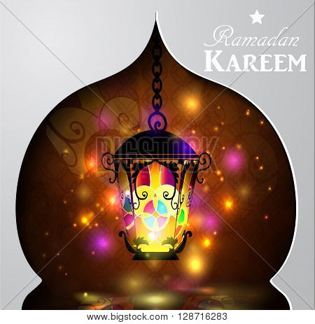 Vector illustration  magic stain glass light on dark background in paper window