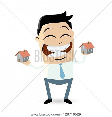 happy businessman comparing houses