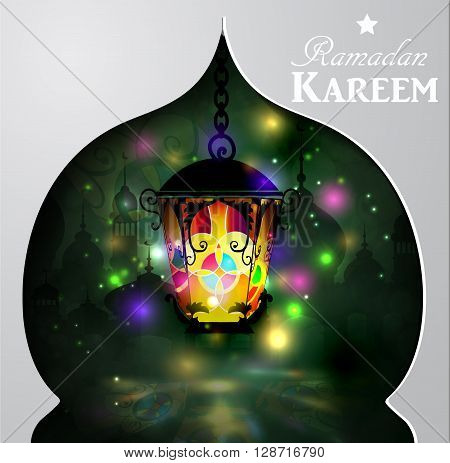 Vector illustration Silhouette of mosque and magic stain glass light on dark background in paper window