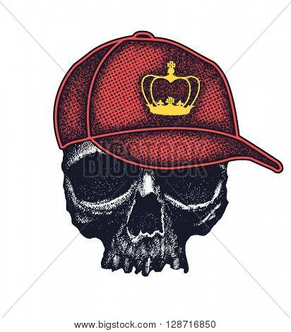 skull in hat with crown grunge style vector illustration