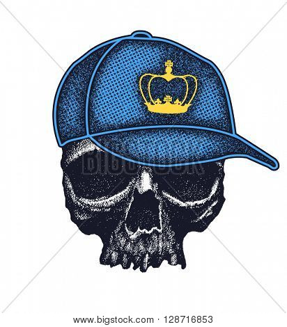 Skull in hat with crown. Grunge style. Vector illustration