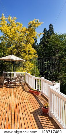 Residential outdoor cedar deck with furniture and umbrella during nice bright day. Vertical layout.