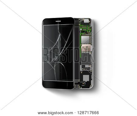 Broken phone inside isolated, chip, motherboard, processor, cpu and details. Smartphone screen component repair. Cellphone constitution. Telephone cutaway. Broken device mending. Hardware disassembled