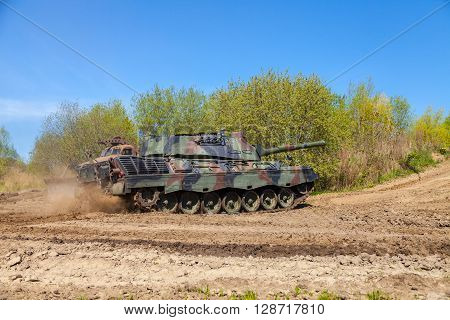 GRIMMEN / GERMANY - MAY 5: german leopard 1 a 5 tank drives on track on a motortechnic festival on may 5 2016 in Grimmen / Germany.