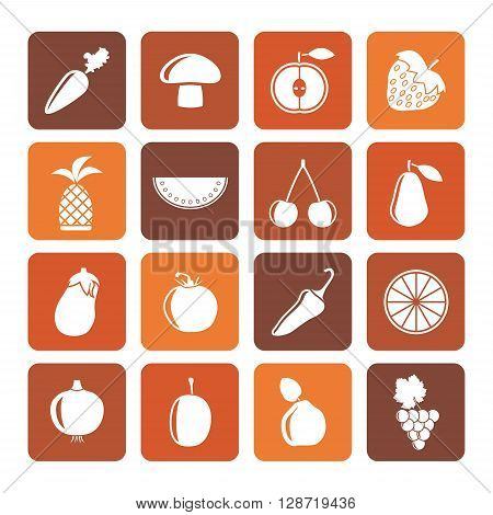 Flat Different kinds of fruits and Vegetable icons - vector icon set