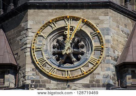Beautiful Old Clock On Church Closeup