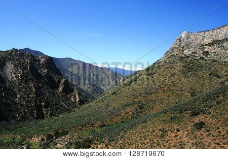 Mountains and canyons in the southern Sierra, California