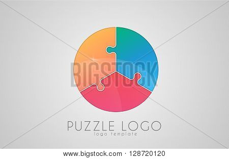 puzzle circle logo. puzzle logo. Creative logo design.