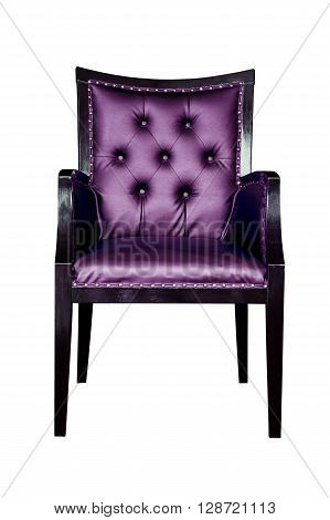 Purple classic armchair isolated on white background.
