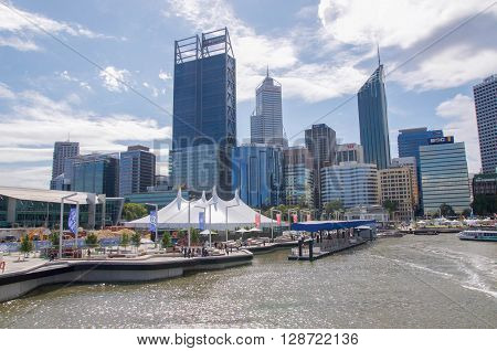 PERTH,WA,AUSTRALIA-APRIL 10,2016: Perth cityscape, tourists and foreshore scene at Elizabeth Quay in Perth, Westenr Australia.