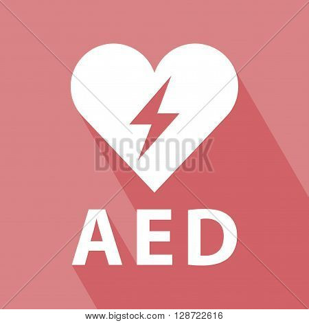 Defibrillator Icon. EPS 10 vector illustration for design. Defibrillator Icon on red background. Defibrillator icon with Long Shadow. All in a single layer. Vector illustration. Elements for design.