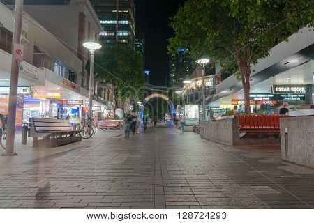 Brisbane, Australia - April 26, 2016: In city at night Brisbane street at night  Queen Street mall with shop front lights