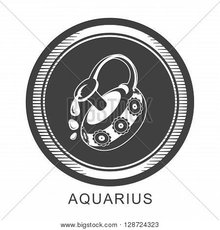 vector illustration of the zodiac Aquarius horoscope in vintage round frame black and white