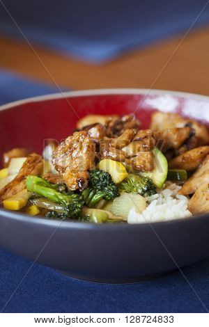 Stir fry vegetables with chicken meal up close.
