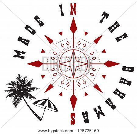 Decorative symbol Made in the Bahamas. Used elements of travel: wind rose and palm with parasol.