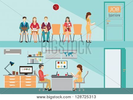 Recruitment flat banner set with candidates sitting on chair front of a door for giving interview job interview hired the job human resources conceptual vector illustration.