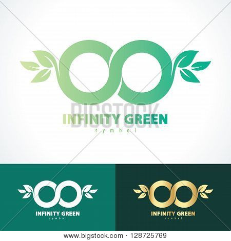 Green infinity with leaf symbol icon. Vector illustration Logo template design with business card