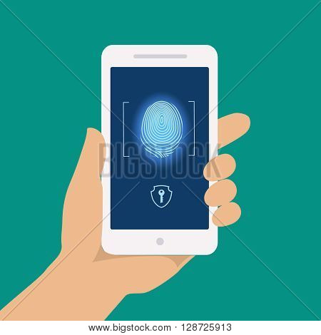 Finger print smart phone access lock. businessman touch screen fingerprint hands scan security. Business data protection. flat illustration