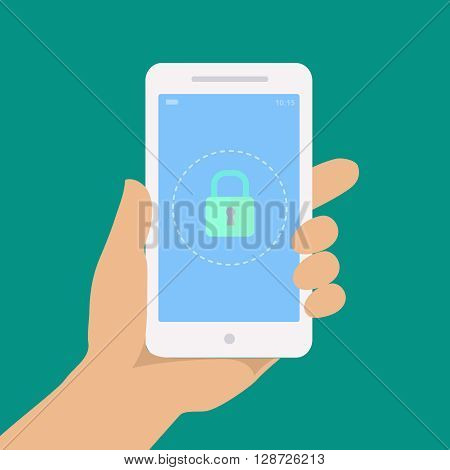 Smartphone lock screen. Secure icon. Hand hold smartphone, locked phone infographics