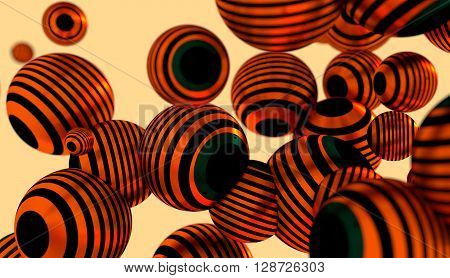 Large group of orbs or spheres levitation in empty space. 3D rendering. Metallic surface painted by stripes