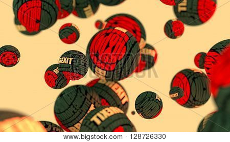 Large group of orbs or spheres levitation in empty space. 3D rendering. Brexit tags cloud