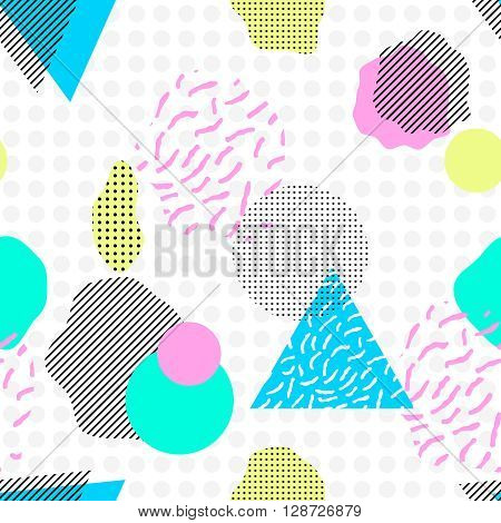 Geometric trendy 80s retro seamless pattern. Funky hipster texture for phone case, poster, textile, art print