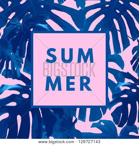 Summer hipster boho chic background with tropical palm retro texture. Minimal printable journaling card, creative card, art print, minimal label design for banner, poster, flyer.