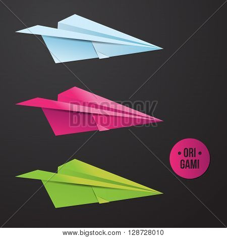 Vector paper origami plane icon. Colorful origamy set. Paper design for your identity. Origamy logo. Travel business. Modern style
