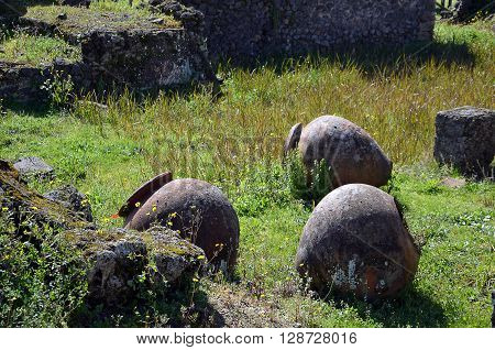 old historic vases in pompei city excavation italy