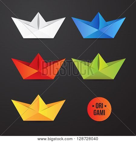 Vector paper origami ship icon. Colorful origamy set. Paper design for your identity. Origamy logo. Travel business. Modern style