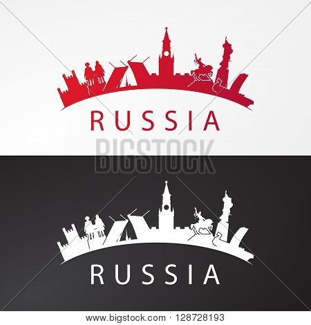 Modern concept Travel to Russia. Russia famous places in one icon. Landmarks of Moscow, Saint petersburg, Ufa, Vladivostok, Kaliningrad, Ekaterinburg and Samara. Vector russia travel logo