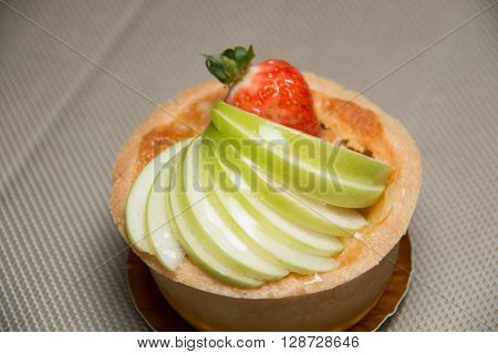 A Closeup of freshly baked apple tart