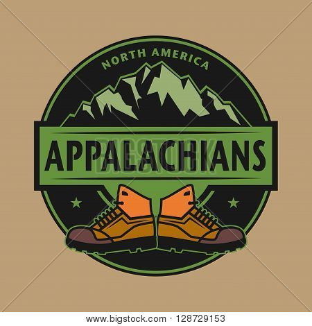 Stamp or emblem with text Appalachian Mountains, North America, vector illustration