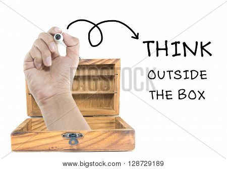 Writing word of think outside of the box concept